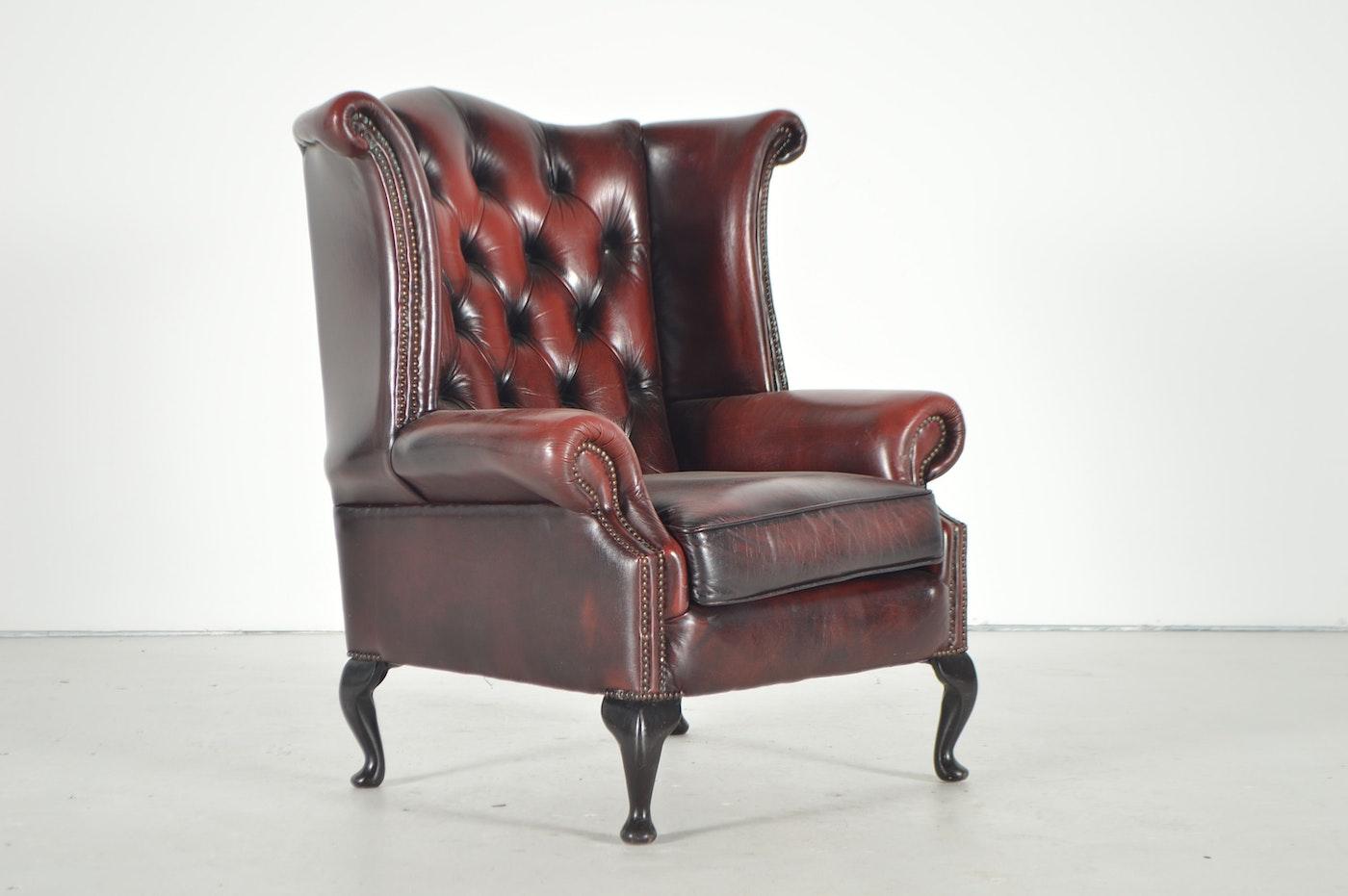 Burgundy Leather Wingback Chair Ebth