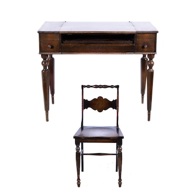 H E Shaw Furniture Co Spinet Desk Ebth