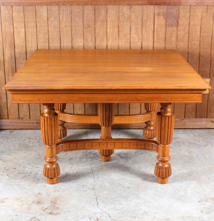 Vintage Oak Dining Table Vintage Oak Dining Table With Leaves By Logansport Furniture Ebth