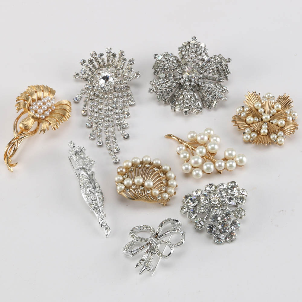 Collection of Vintage Brooches including Crown Trifari and Emmons