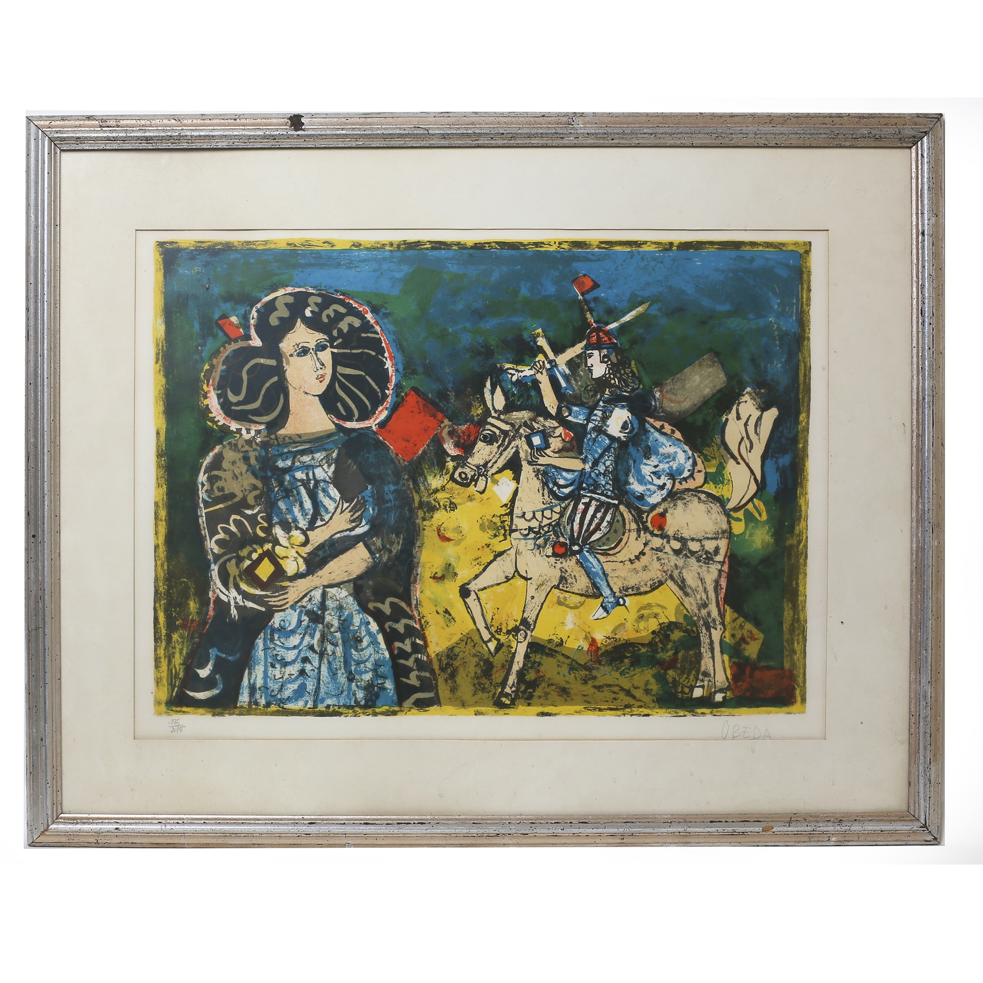 """Augstin Ubeda Signed Lithograph """"Modernist Scenes of Chivalry"""""""