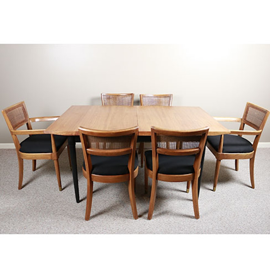 mid century modern drexel biscayne dining table and six chairs ebth. Black Bedroom Furniture Sets. Home Design Ideas