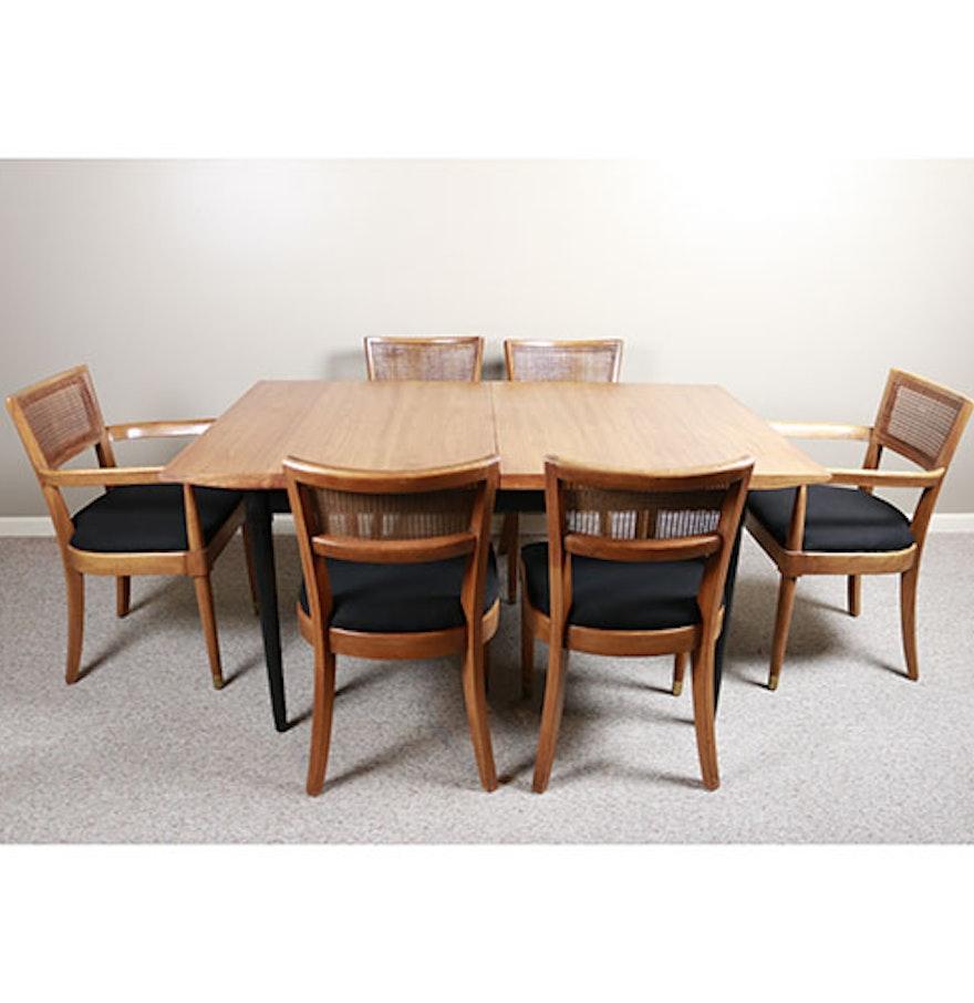 Mid century modern drexel biscayne dining table and six for Dining table and six chairs