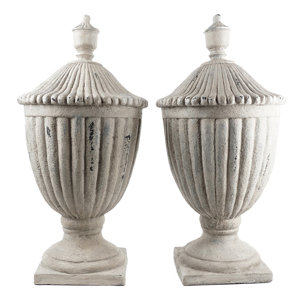Pair Of Large Decorative Cast Resin Urns By Wisteria  Ebth. Living Room Furniture Clearance. 80s Party Decorations Diy. Living Room Ceiling Lighting. Decorative Bookcase. Mushroom Garden Decor. Cheap Outdoor Wedding Decorations. Birthday Lawn Decorations. Rooms To Go End Tables
