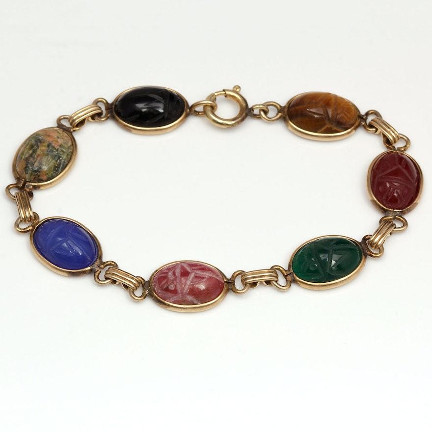 Vintage 1950s Multi Stone Scarab Bracelet