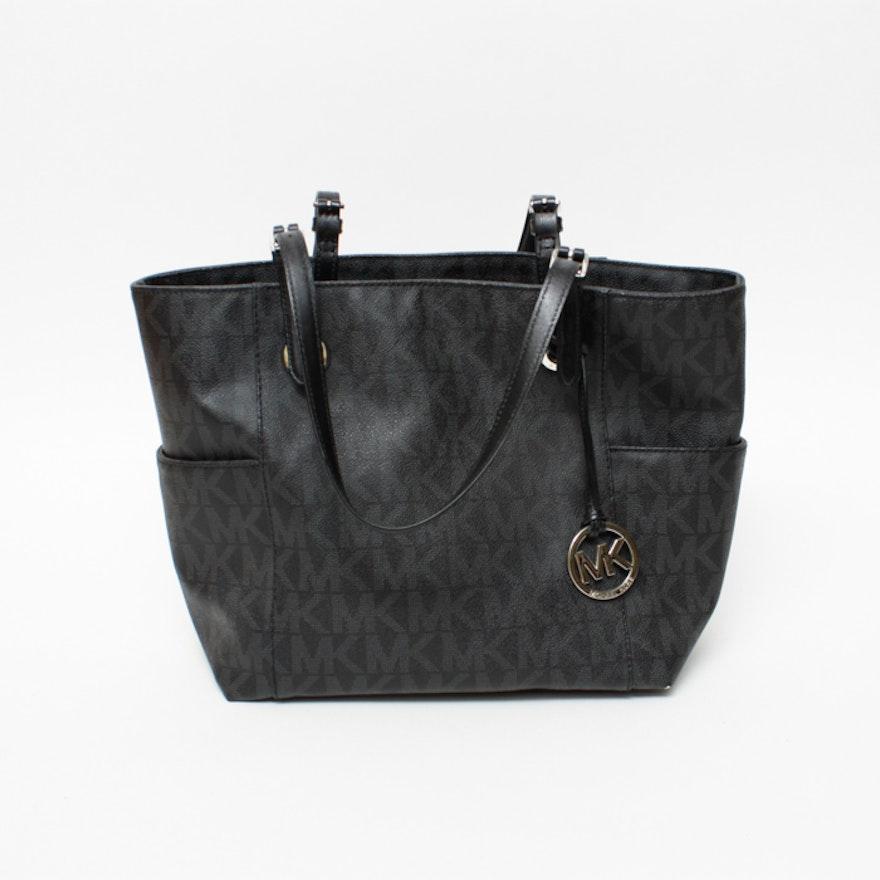 9c89bd9525b8 Michael Kors Black Leather Signature Tote Bag   EBTH