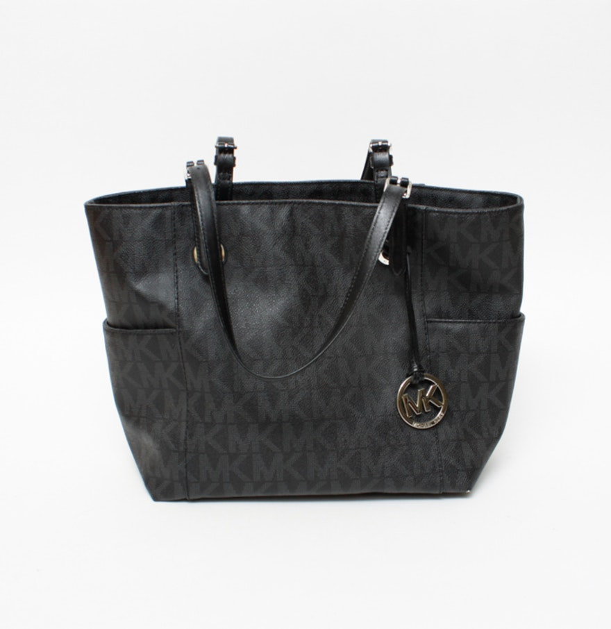 Michael Kors Black Leather Signature Tote Bag : EBTH