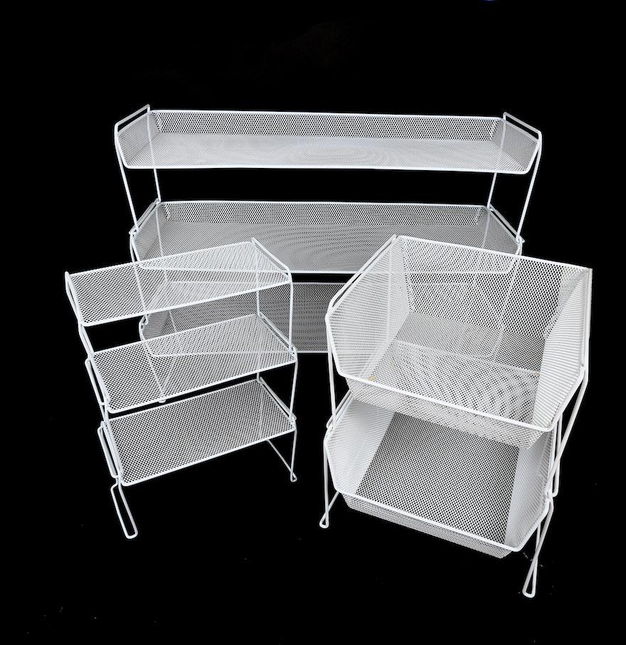 Assortment of White Metal Stacking Shelves : EBTH