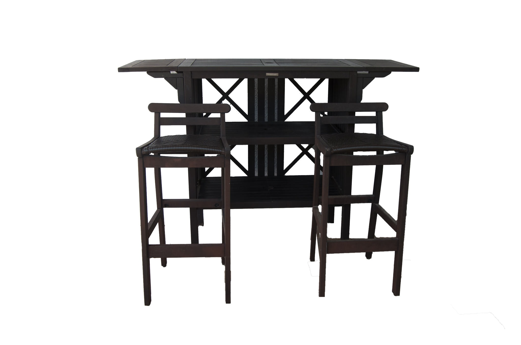Outdoor Thomasville Drop Leaf Bar With Stools ...