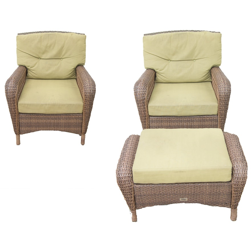Astonishing Outdoor Martha Living Wicker Chairs With Ottoman Lamtechconsult Wood Chair Design Ideas Lamtechconsultcom