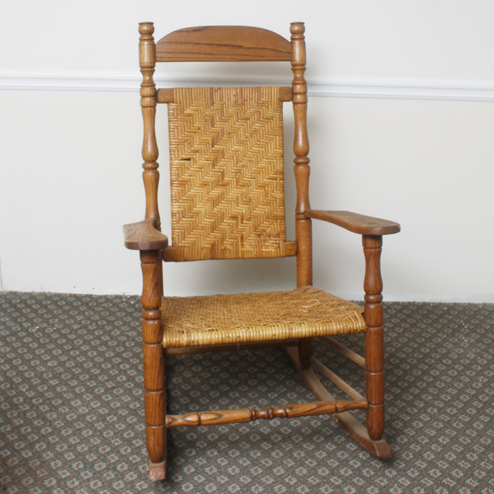 Wooden Wicker Furniture ~ Wooden rocking chair with wicker weave ebth