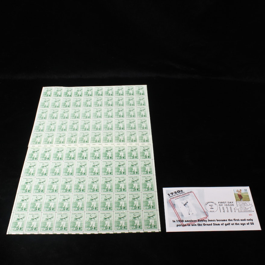 a1f64eb2bb Mint Sheet of Bobby Jones Stamps and First Day Cover : EBTH