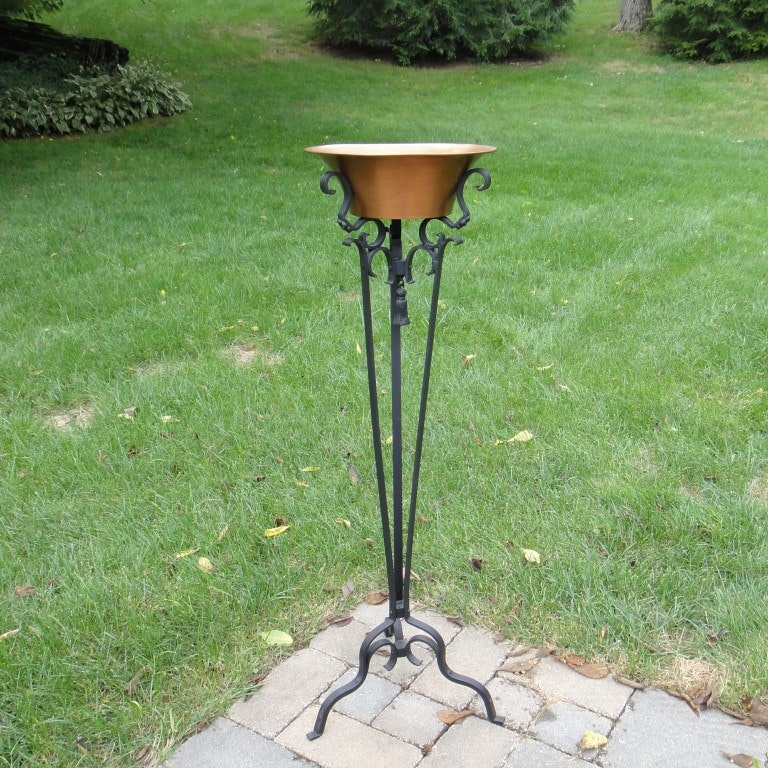 Victorian Wrought Iron Plant Stand W Copper Pot Ebth