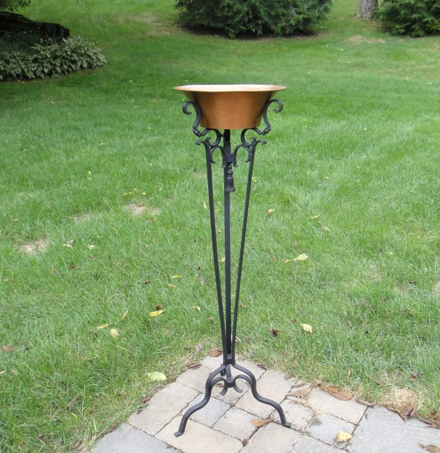victorian wrought iron plant stand w copper pot ebth. Black Bedroom Furniture Sets. Home Design Ideas