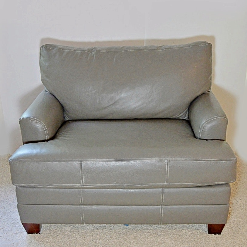 Modern Gray Leather Club Chair with Sleeper Bed