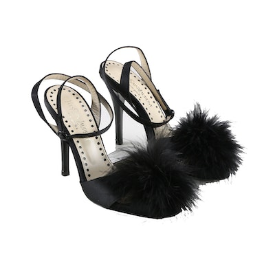 Yves Saint Laurent Slingback Pumps with Feathered Accents