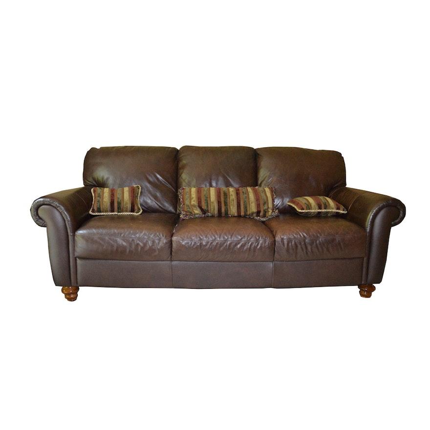 Italsofa Brown Leather Sofa Ebth