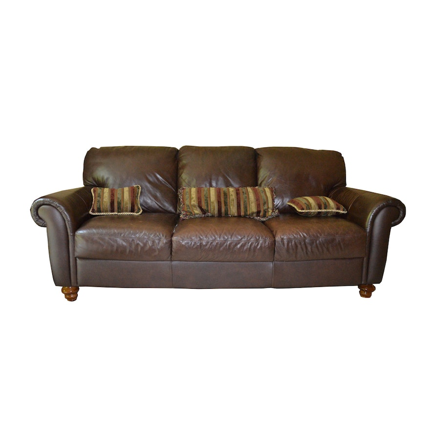 Italsofa Brown Leather Sofa Ebth
