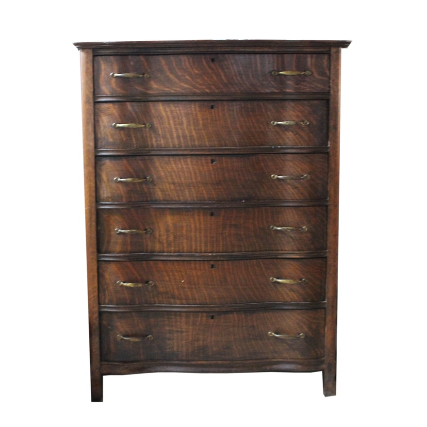 Antique Tiger Oak Serpentine Dresser ... - Antique Tiger Oak Serpentine Dresser : EBTH