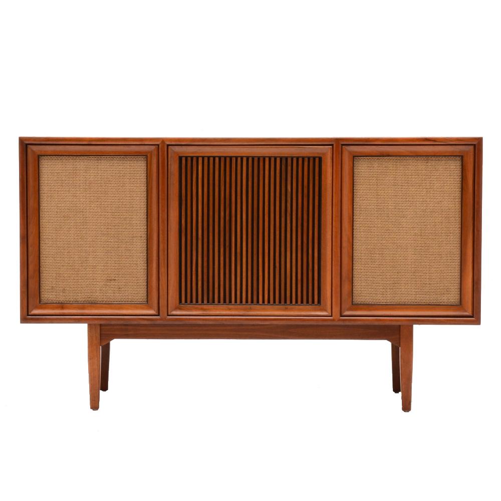 Drexel Walnut Console Cabinet with Motorola Turntable and Radio : EBTH