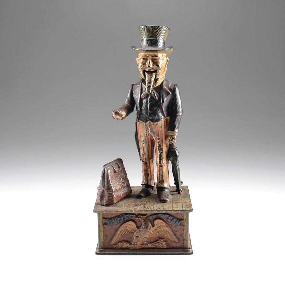 Vintage Cast Iron Mechanical Uncle Sam Bank