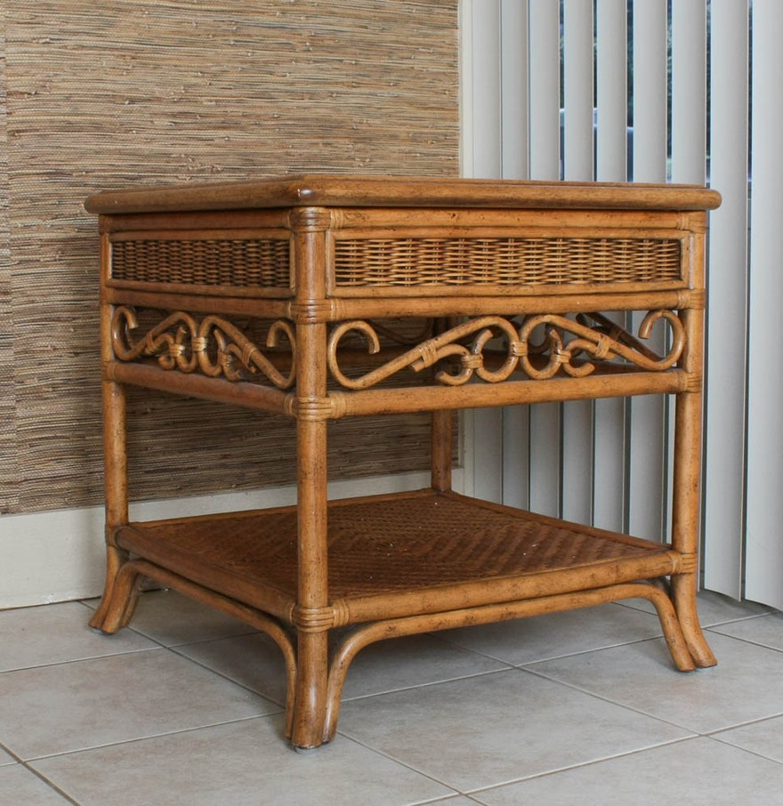 Casual side table with bent bamboo frame detail ebth for Bent bamboo furniture