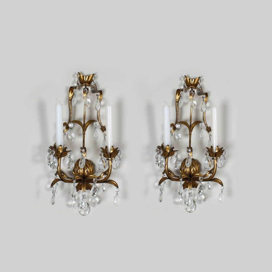 Vintage Gilt And Drop Crystal Wall Candle Sconces