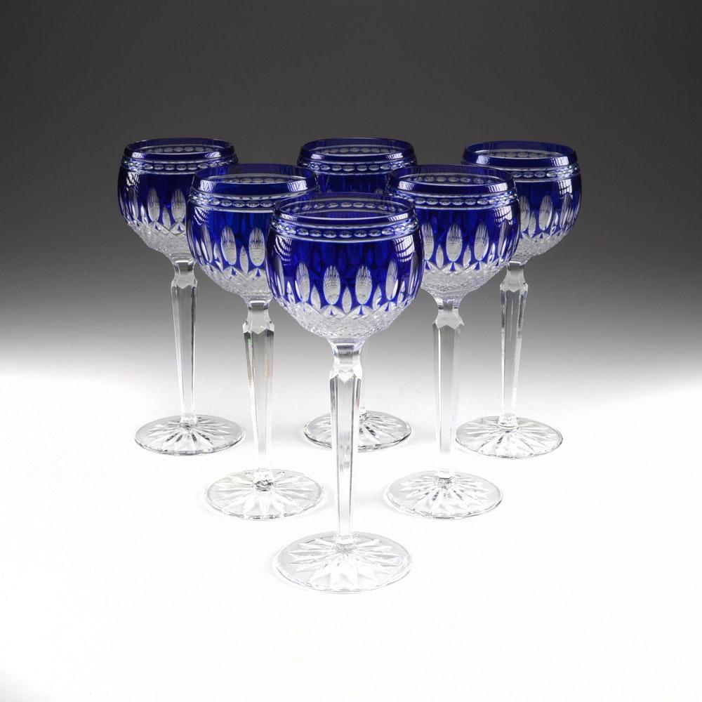 "Set of Waterford Crystal ""Clarendon"" Cobalt Wine Hock Glasses"