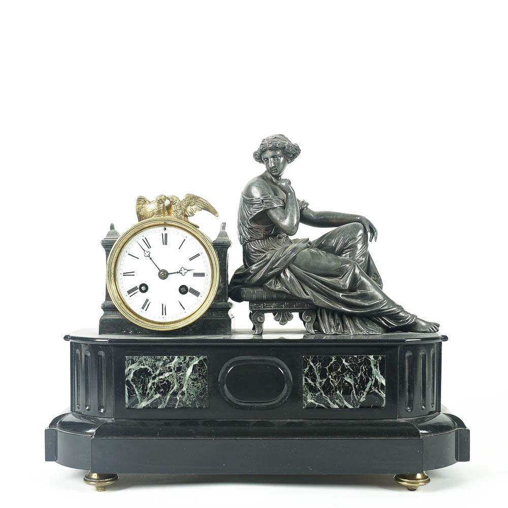 Seated Liberty Bronze Mantel Clock