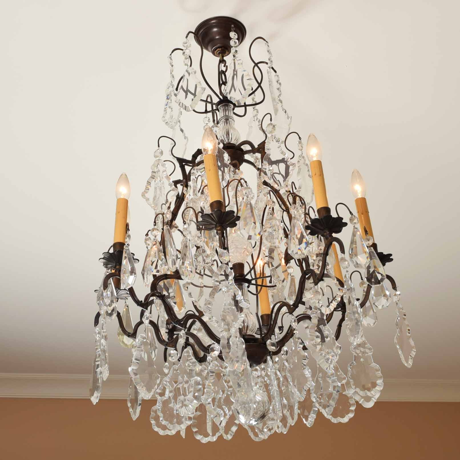 Crystal and Wrought Iron Tiered Chandelier