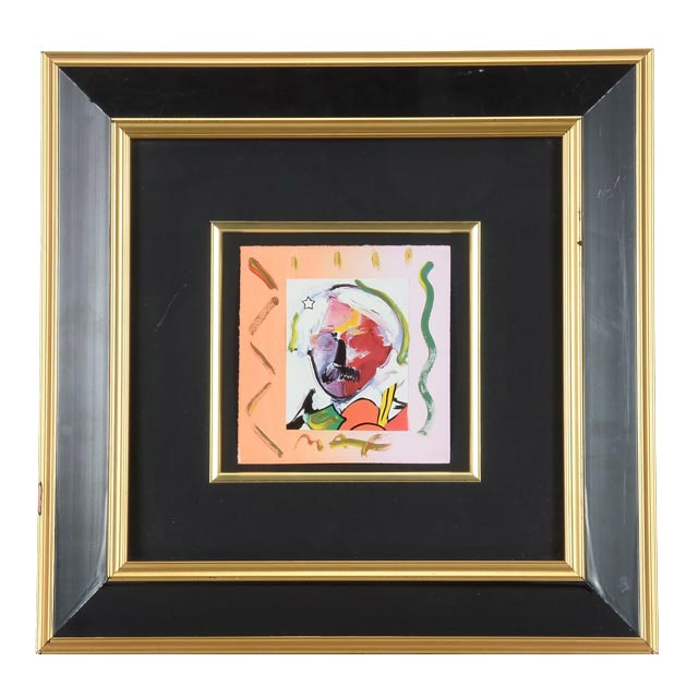 "Peter Max Original Mixed Media Collage ""Andy with Moustache"""