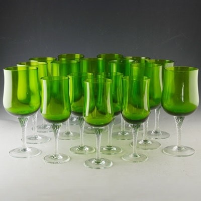 green crystal water goblets and wine glasses