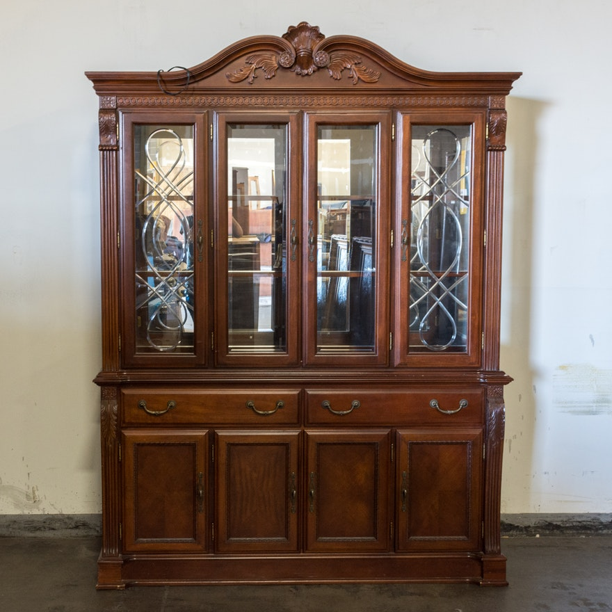 Large Wooden Hutch With Glass Doors Ebth