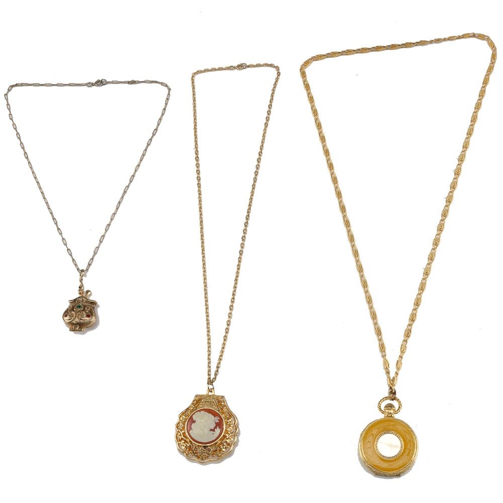 assortment of solid perfume pendant chain necklaces ebth