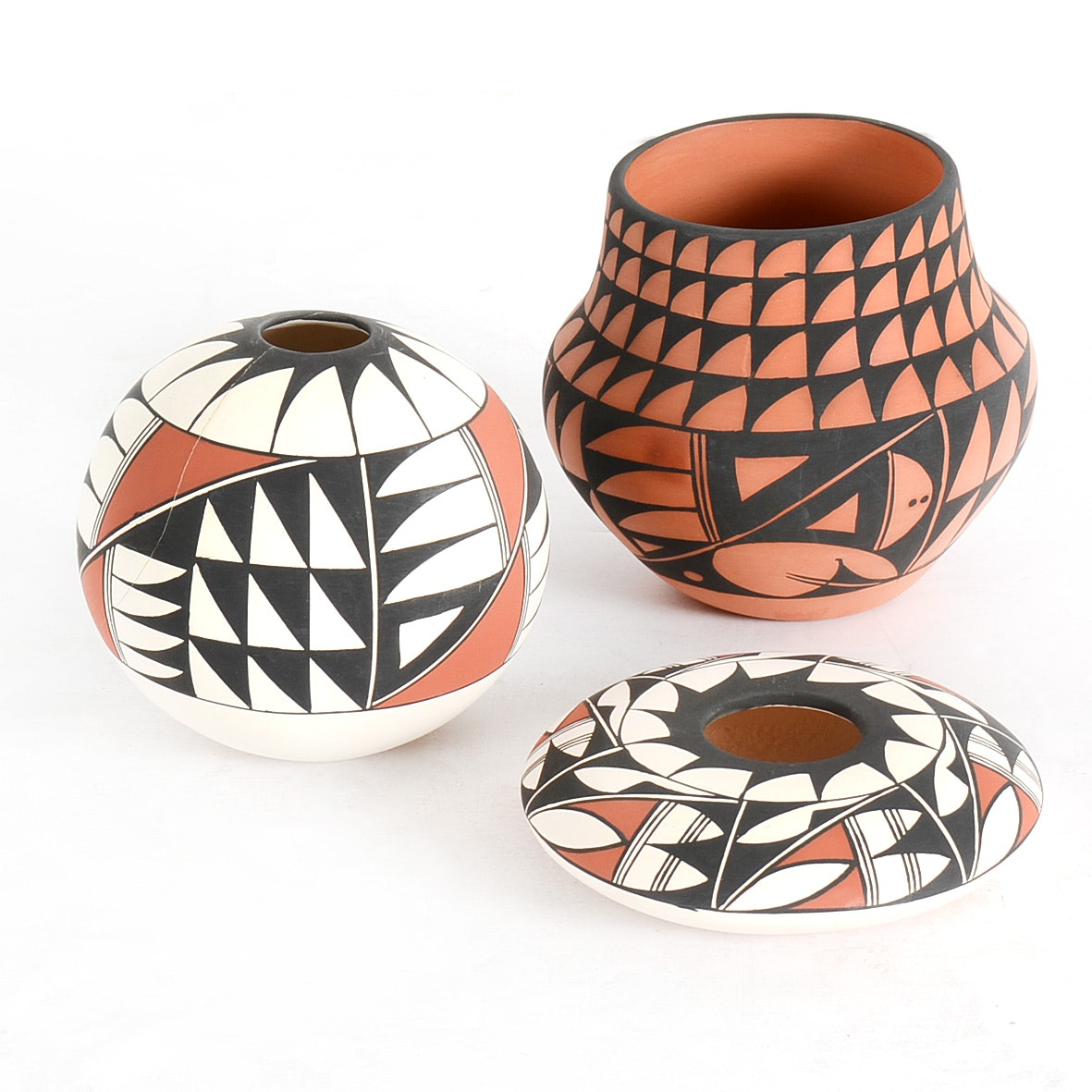 Collection of Acoma Pueblo Pottery Signed by D. Trujillo