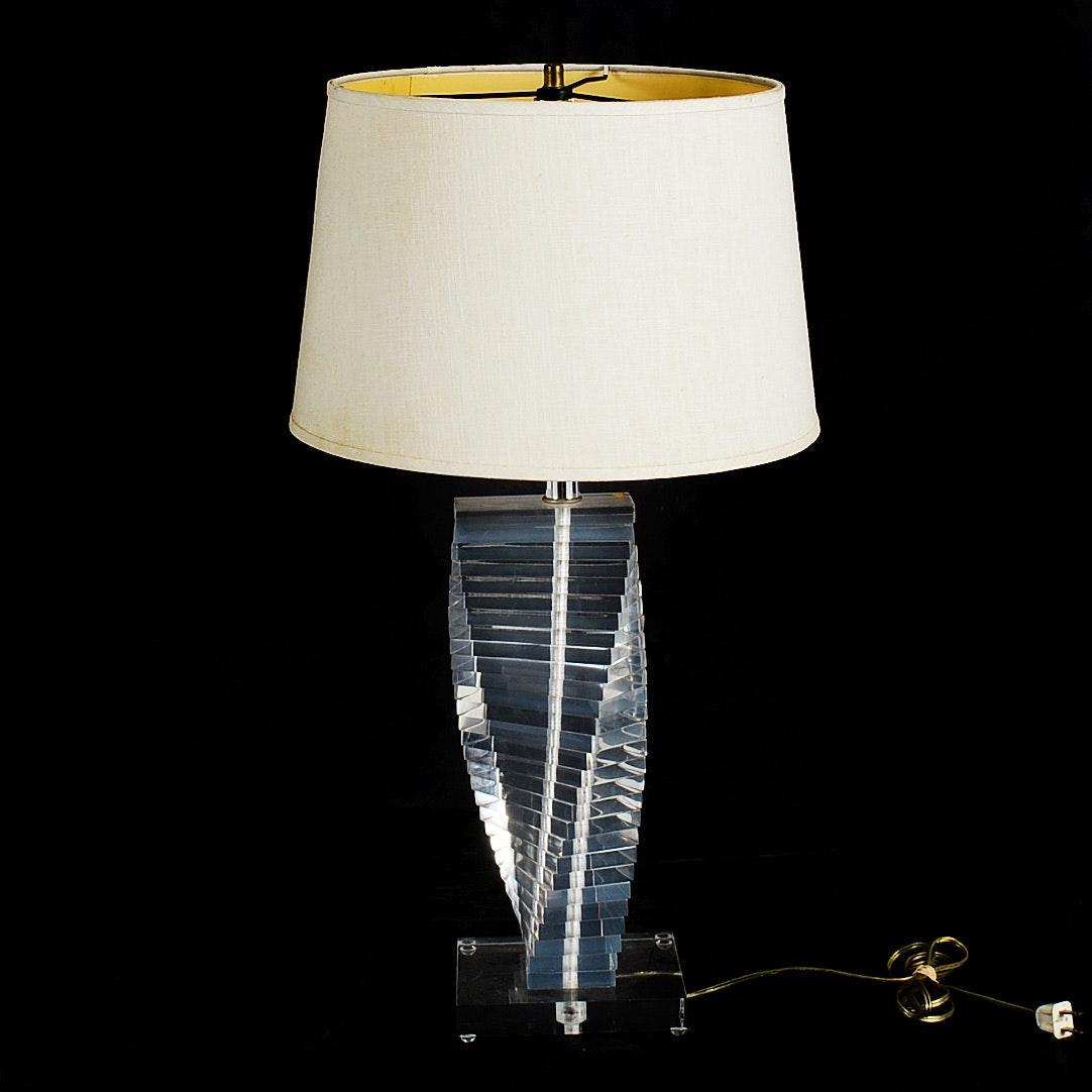 Karl Springer Style Lucite Table Lamp Ebth