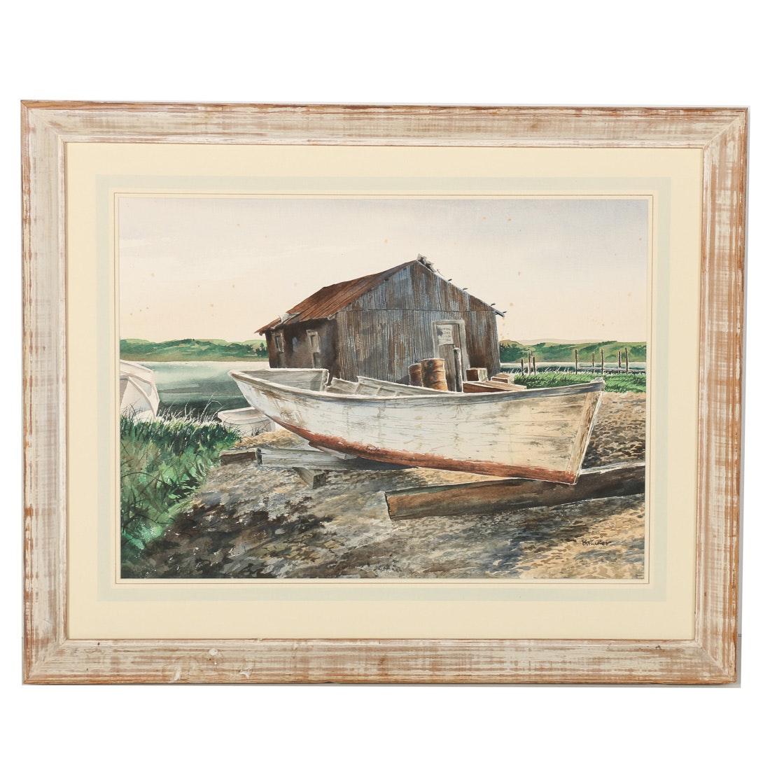 B. Tucker Signed Landscape Watercolor