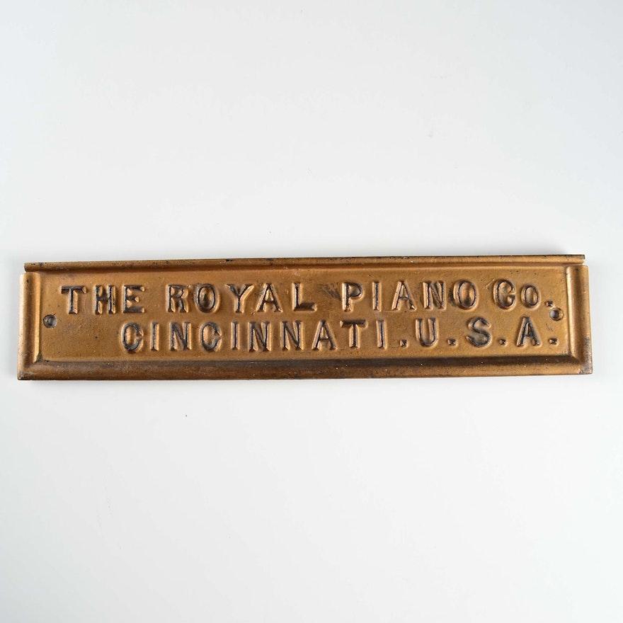 "Cast Iron  ""The Royal Piano Co"" Cincinnati Sign"