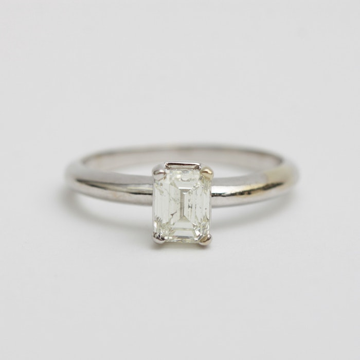 14K Emerald Cut Diamond Solitaire Ring