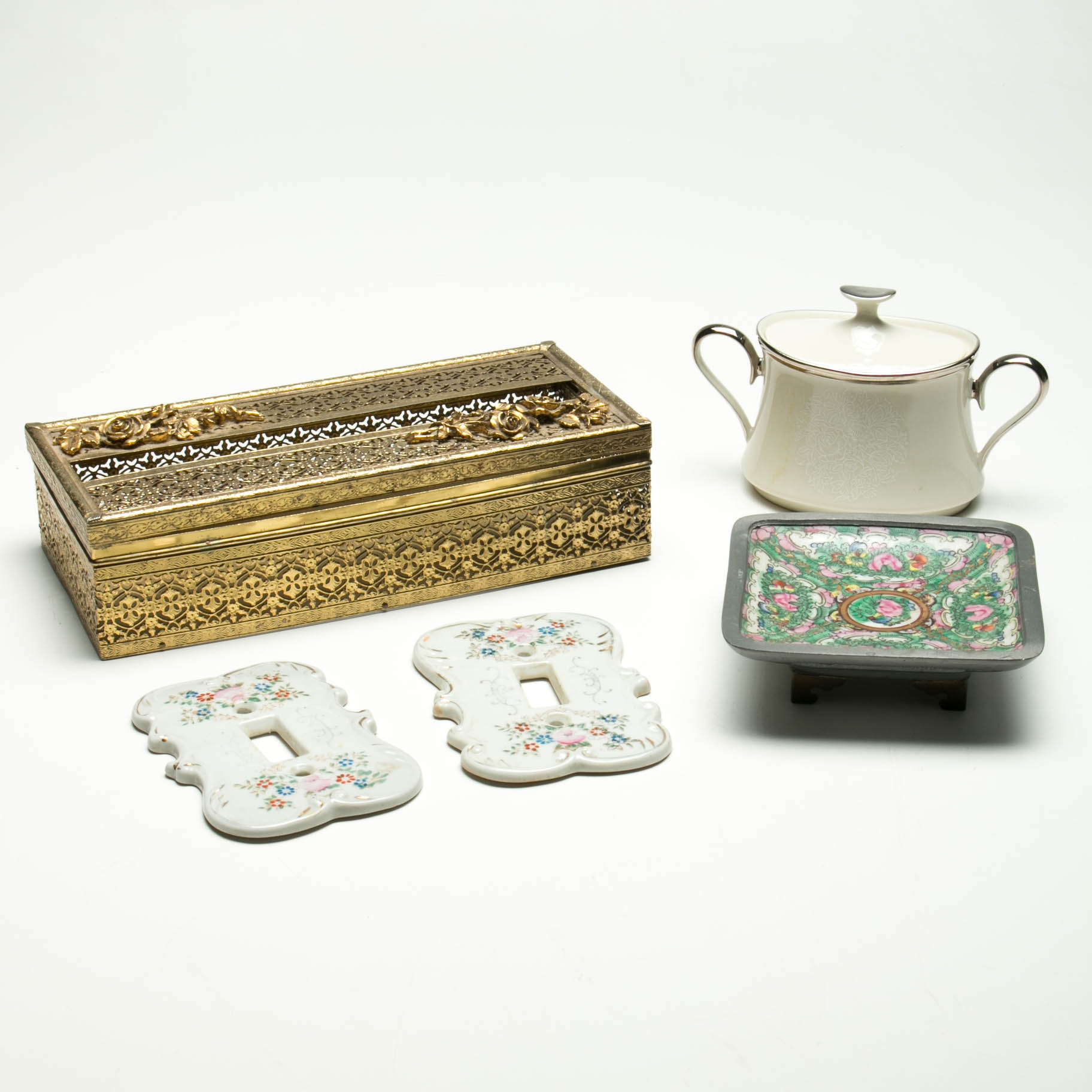 Collection of Decorative Porcelain and Metal Accents