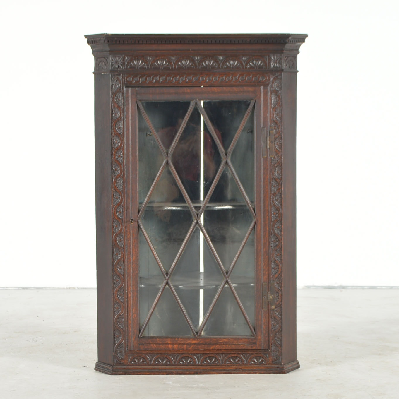Antique Carved Walnut And Glass Front Corner Cabinet ...
