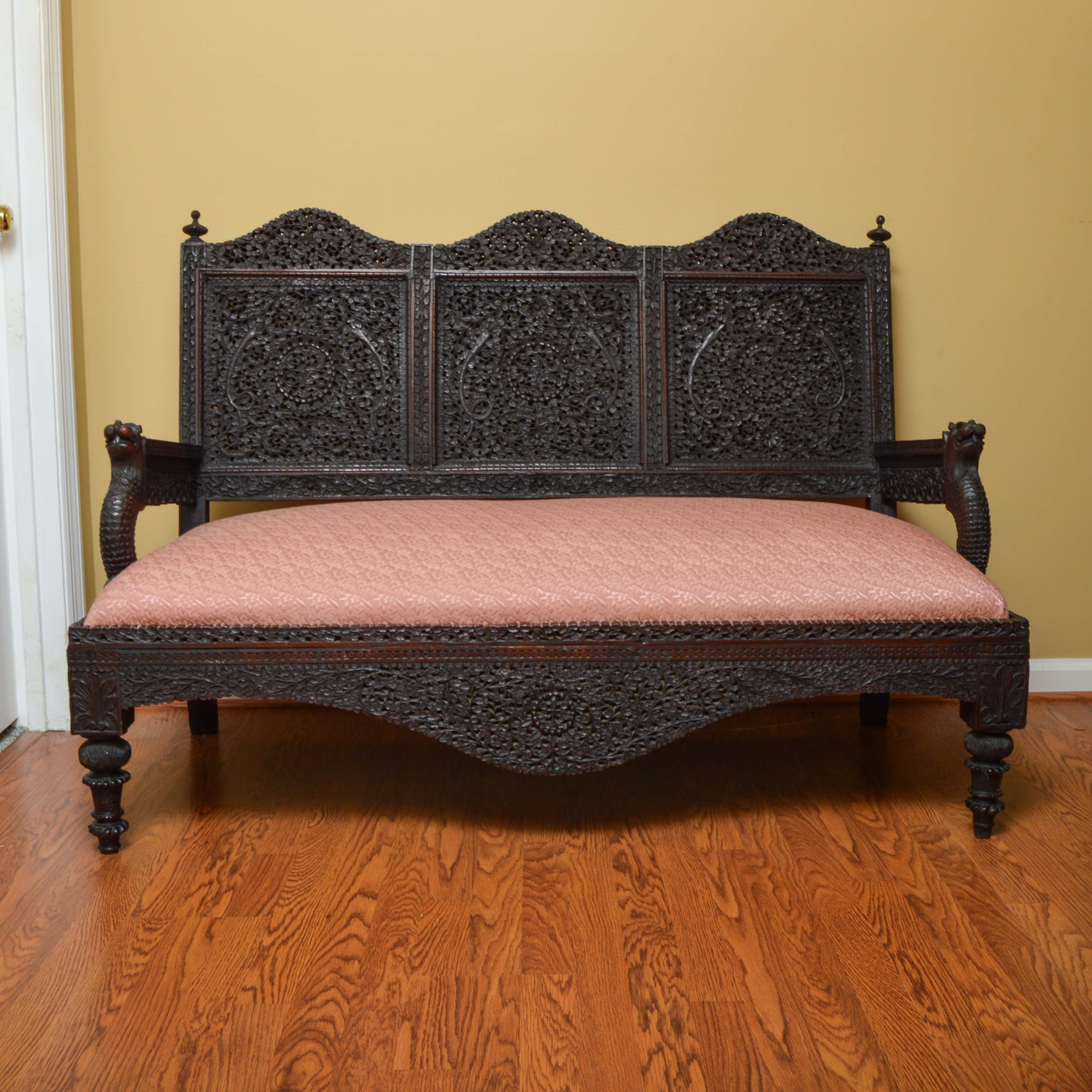 Antique Anglo-Indian Carved Ebonized Teak Settee
