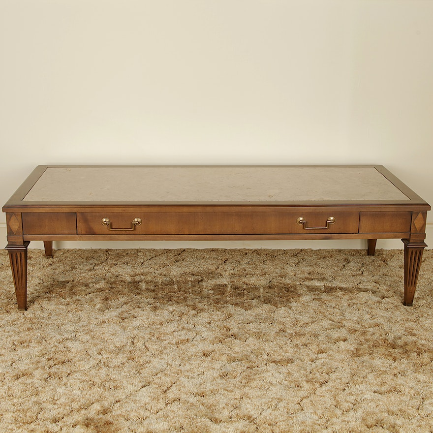 Vintage Marble Inlaid Mahogany Coffee Table By Imperial
