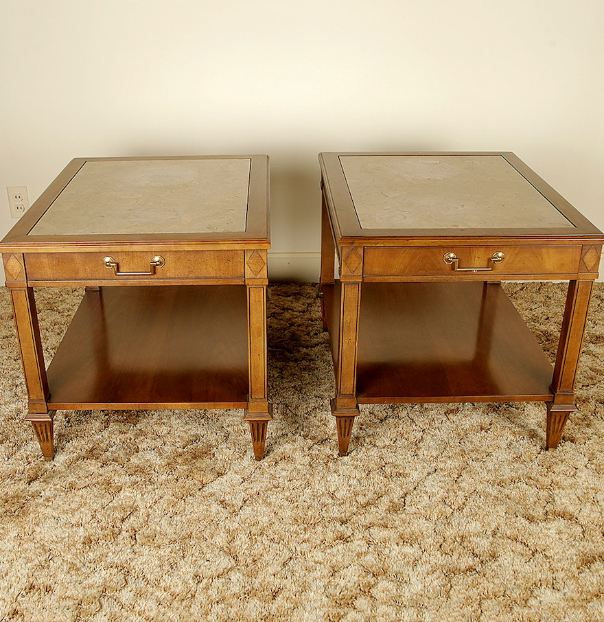 Imperial furniture - Matching Vintage Marble Inlaid Mahogany End Tables By Imperial Furniture