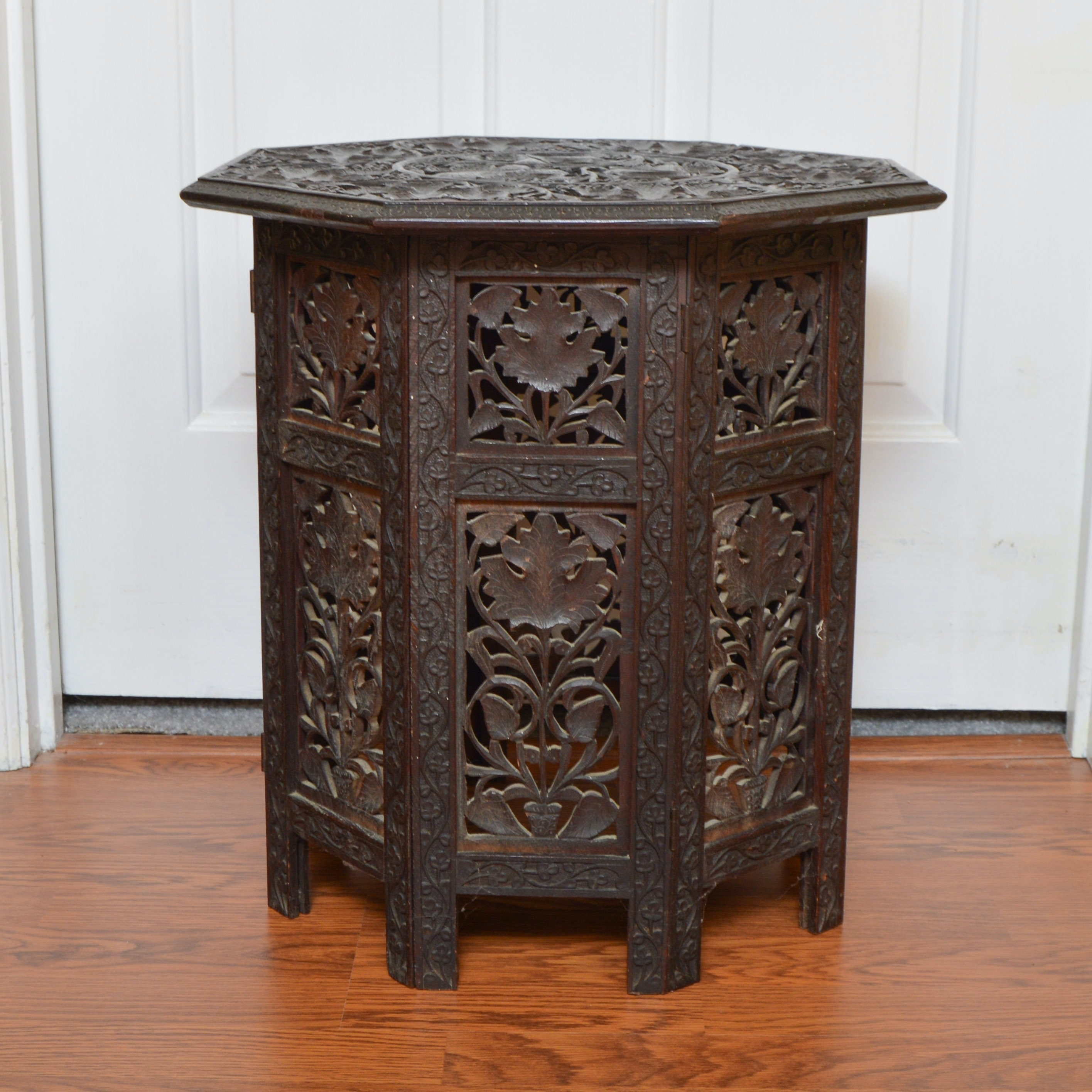 Anglo Indian Carved Teak Octagonal Folding Table ...