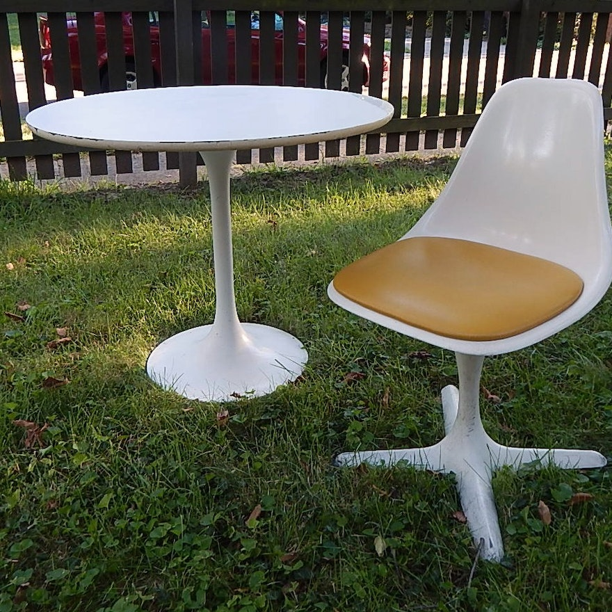 Mid Century Modern Pedestal Tulip Table By Burke And One