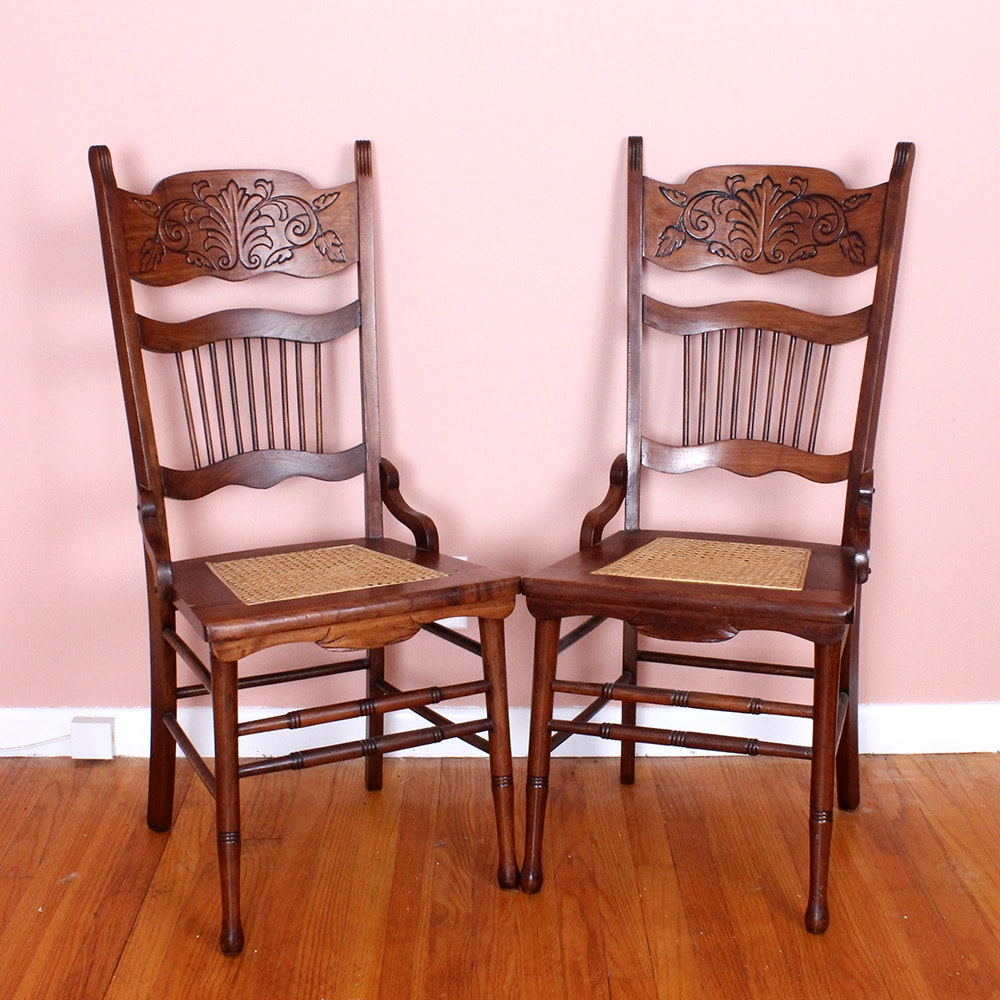 Pair Of Carved Wood Chairs With Cane Seats ...