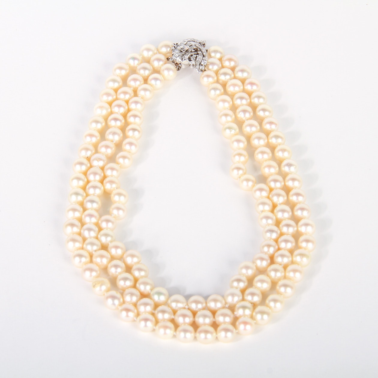 Vintage Three Strand Pearl and 1.38 CTW Diamond Necklace