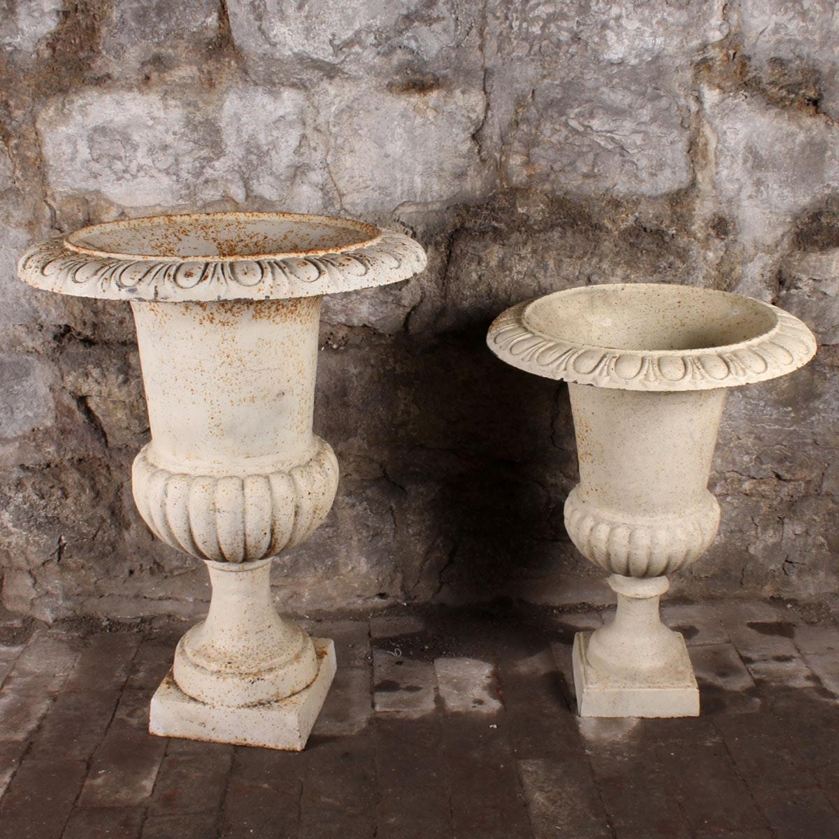 Two Matching Metal Urn Planters