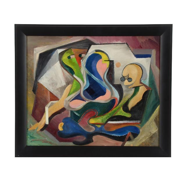 "Arthur Helwig Original Oil on Board ""Abstract Figures"""
